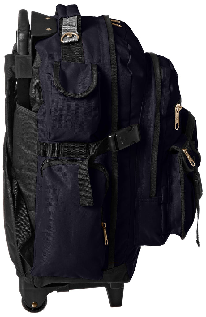 Everest Deluxe Wheeled Backpack, Navy, One Size - backpacks4less.com