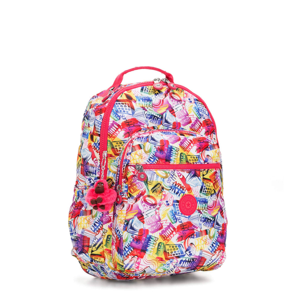 "Kipling Seoul Go Large Printed Laptop 15"" Backpack Doodle Print - backpacks4less.com"