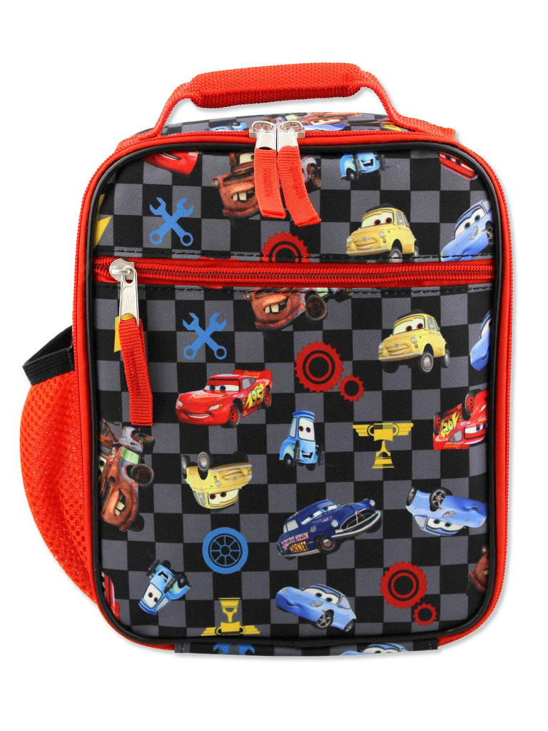 Disney Cars Lighting McQueen Boys Soft Insulated School Lunch Box (One Size, Black/Red) - backpacks4less.com