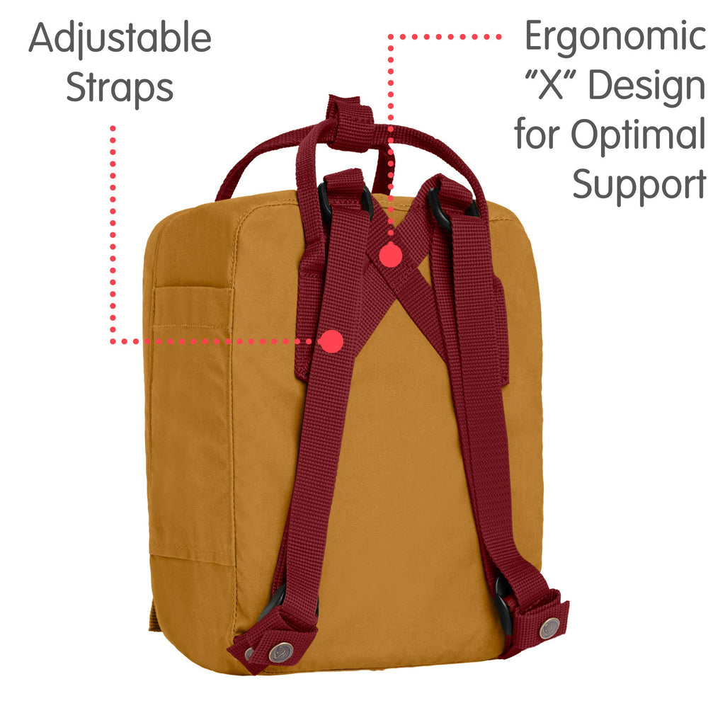 Fjallraven - Kanken Mini Classic Backpack for Everyday, Acorn/Ox Red - backpacks4less.com