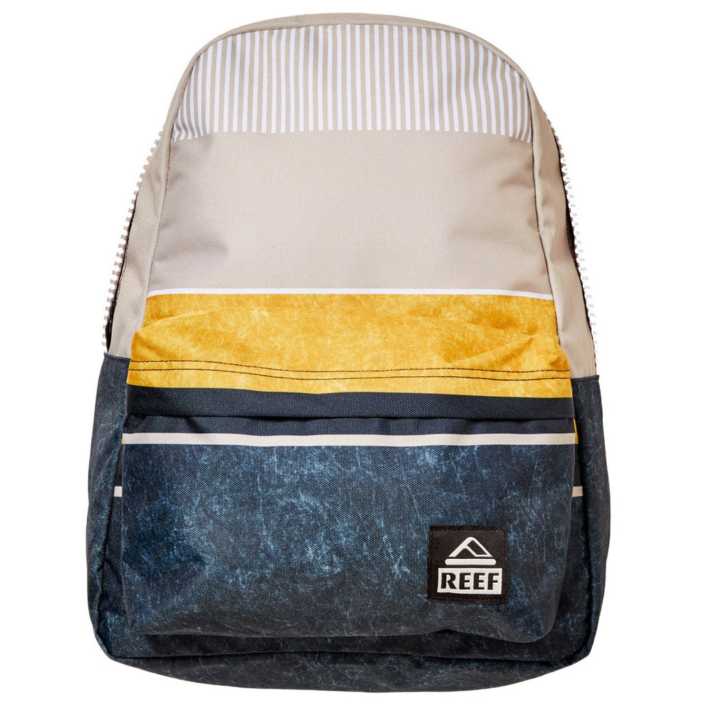 Reef Mens Moving On Backpack, Black/Gold/Stripes, One Size - backpacks4less.com
