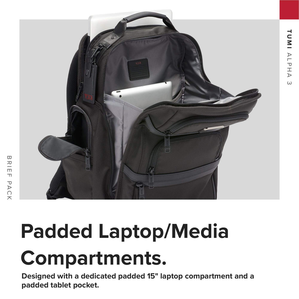 TUMI - Alpha 3 Brief Pack - 15 Inch Computer Backpack for Men and Women - Black - backpacks4less.com