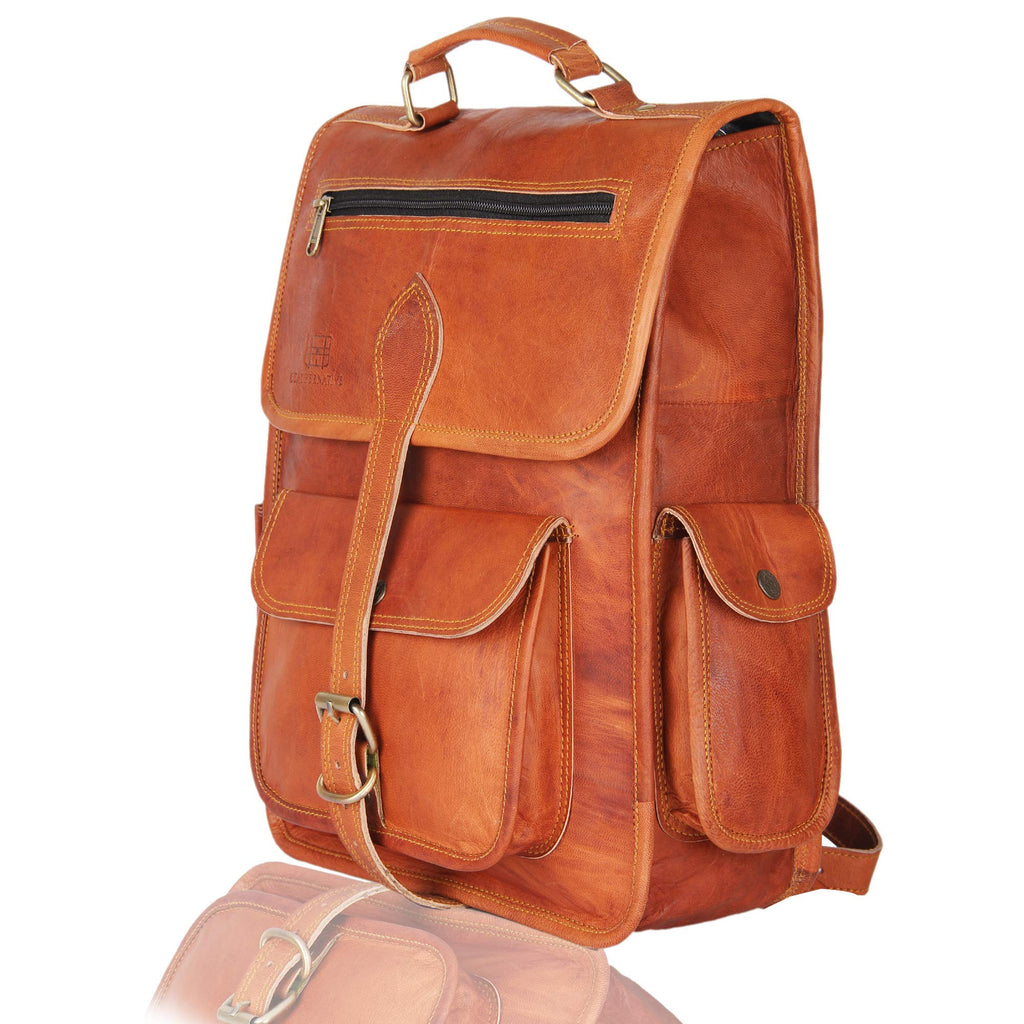 Brown Leather Rucksack Vintage Backpack - Fits 15 Inch Laptops and iPads - Handsome Patina Deepens as Ages - Waterproof, Ideal for Business, Travel, Gym - Suits Men or Women - backpacks4less.com