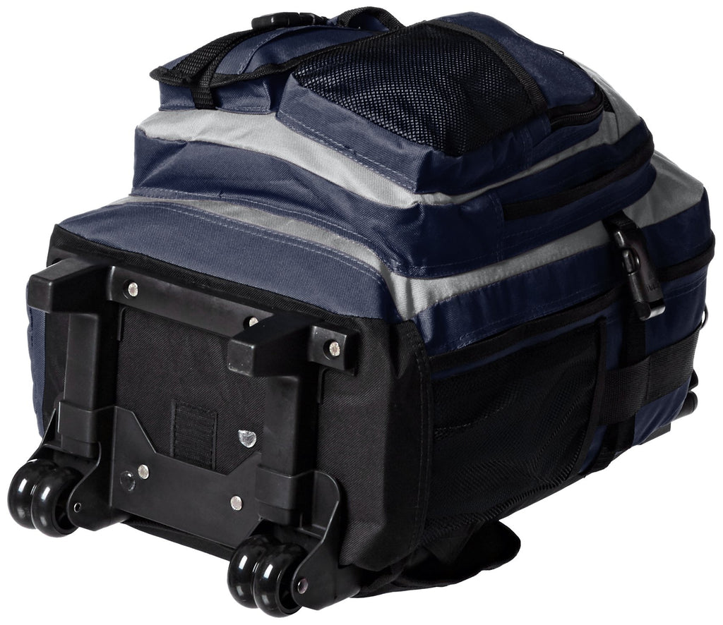 Everest Deluxe Wheeled Backpack, Navy/Gray/Black, One Size - backpacks4less.com
