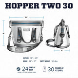 YETI Hopper Two 30 Portable Cooler, Fog Gray / Tahoe Blue - backpacks4less.com