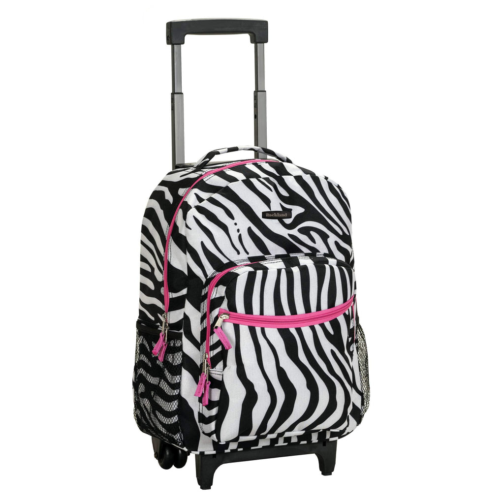 Rockland Luggage 17 Inch Rolling Carry-On Backpack, Pink Zebra, One Size - backpacks4less.com