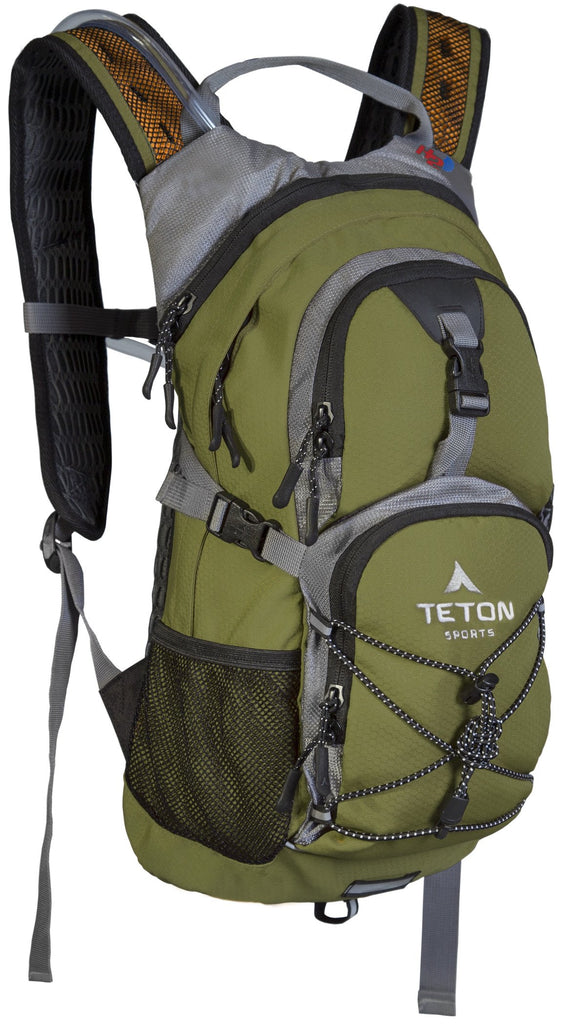 TETON Sports Oasis 1100 Hydration Pack | Free 2-Liter Hydration Bladder | Backpack design great for Hiking, Running, Cycling, and Climbing | Green - backpacks4less.com