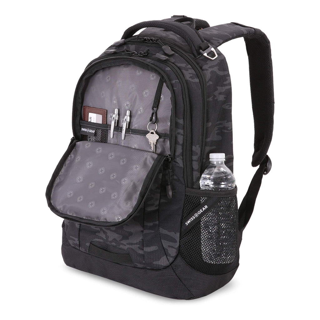 SwissGear Cecil Backpack, Black Cod/Camo, One Size - backpacks4less.com
