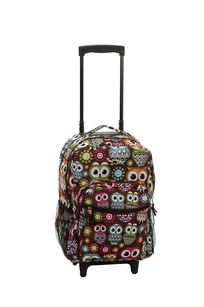 Rockland Luggage 17 Inch Rolling Backpack, MULTI OWL - backpacks4less.com