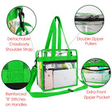 Clear-Crossbody-Messenger-Shoulder-Bags-Seahawks Green With Adjustable Strap,NFL Stadium Approved Transparent Purse - backpacks4less.com