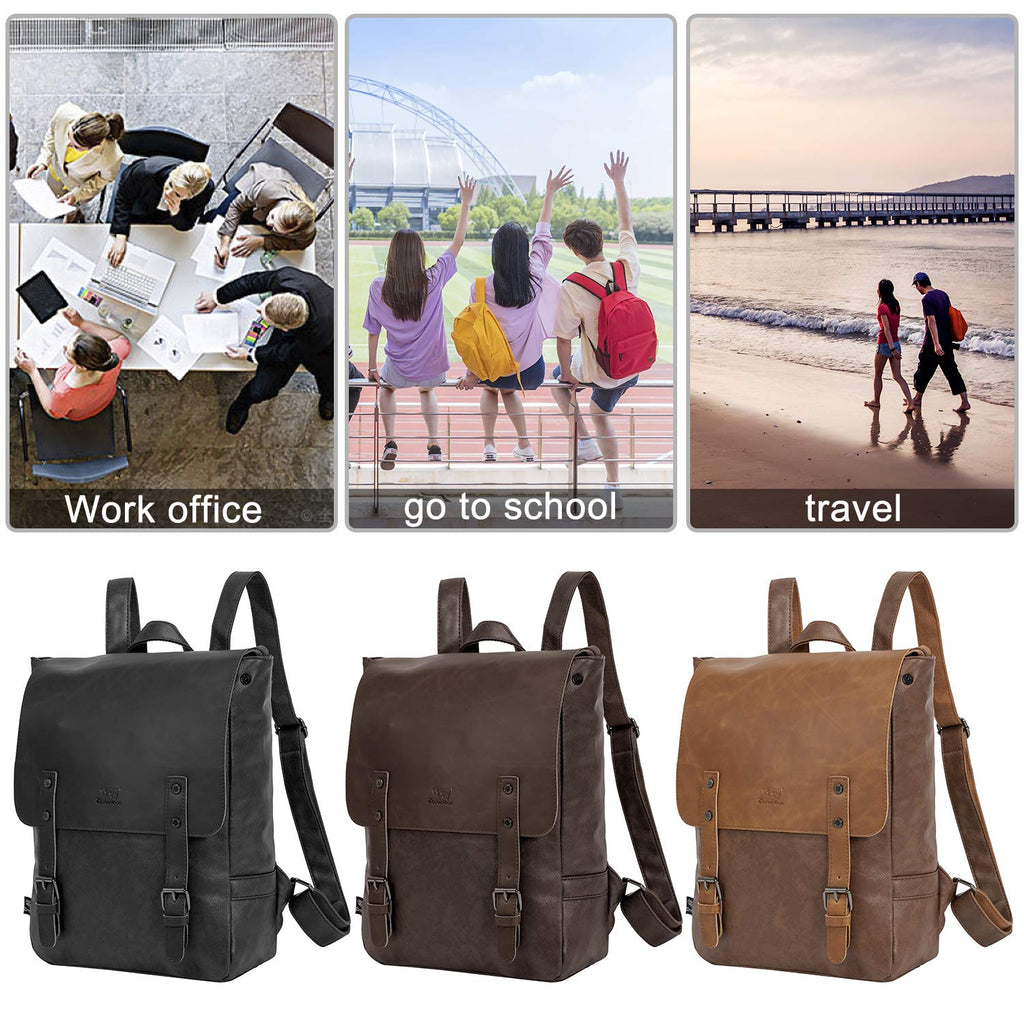 Leather Backpack for Women Men College Laptop Backpack Vintage Backpack Purse - backpacks4less.com