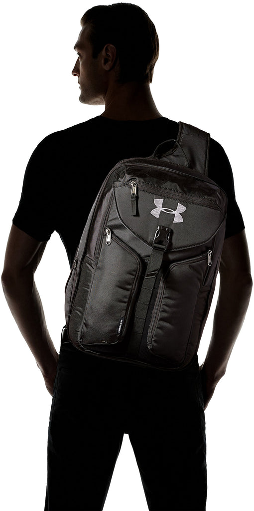 Under Armour Unisex Compel Sling 2.0, Black (001)/Silver, One Size Fits All - backpacks4less.com