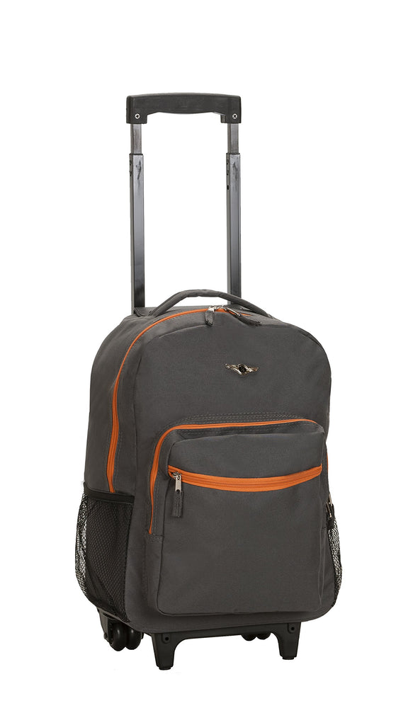 Rockland Luggage 17 Inch Rolling Backpack, Grey/Orange - backpacks4less.com