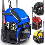 DashSport Baseball Bag Youth Backpack - Spacious 18 x 12 x 10 inches