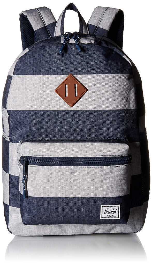 Herschel Kids' Heritage Youth XL Children's Backpack, Border Stripe/Tan Synthetic Leather, One Size - backpacks4less.com