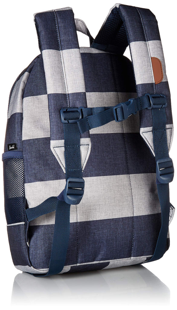 Herschel Kids' Heritage Youth Children's Backpack, Border Stripe/Tan Synthetic Leather, One Size - backpacks4less.com
