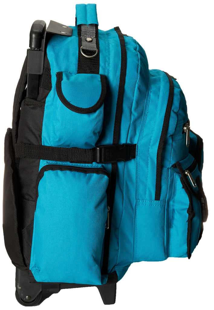 Everest Deluxe Wheeled Backpack, Turquoise, One Size - backpacks4less.com