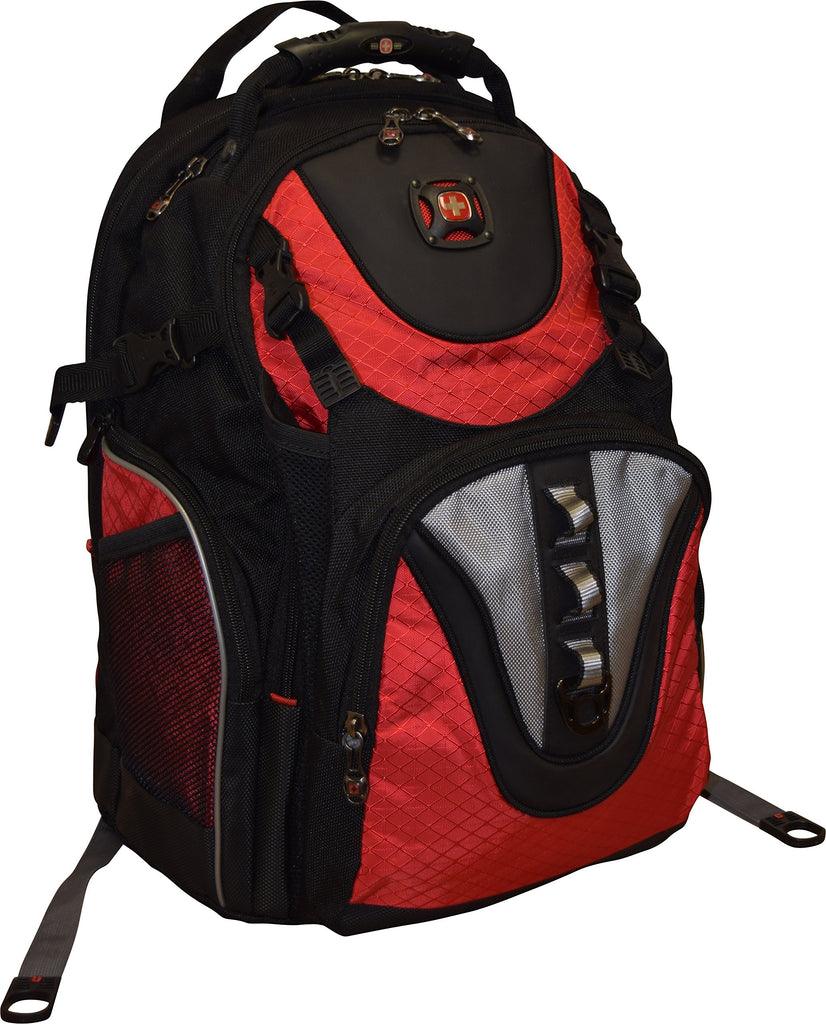 "SwissGear® Maxxum Double Zipper Backpack With 16"" Laptop Pocket, Black/Red - backpacks4less.com"