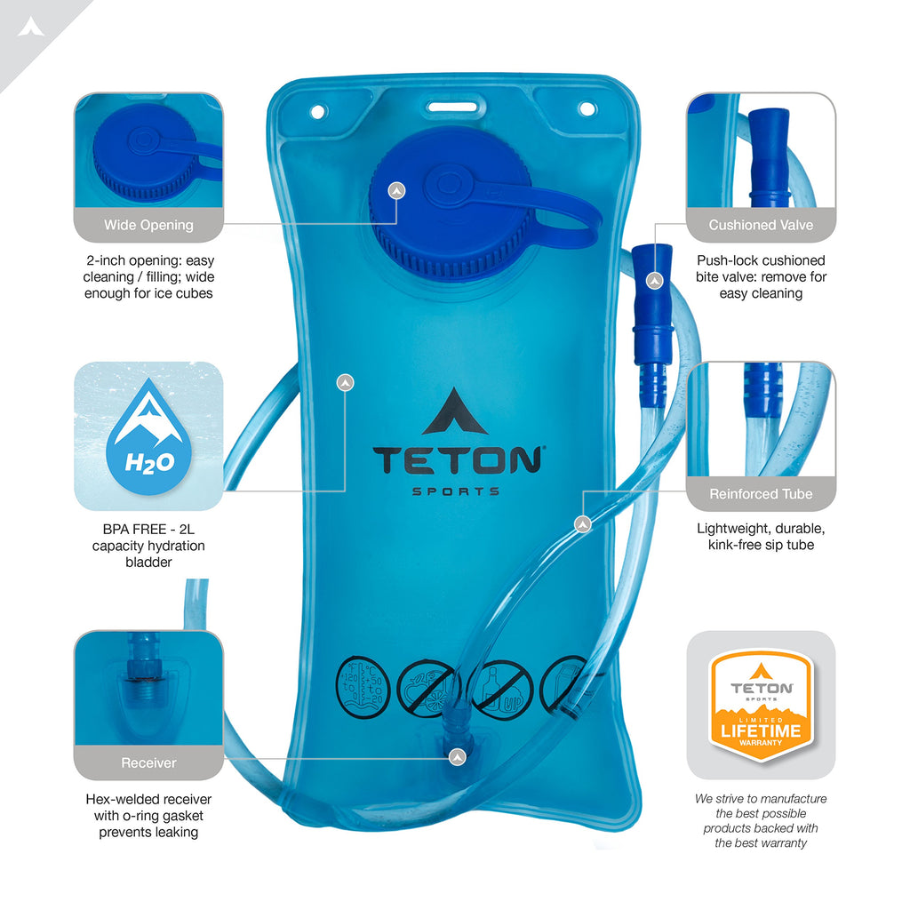TETON Sports Oasis 1100 Hydration Pack | Free 2-Liter Hydration Bladder | Backpack design great for Hiking, Running, Cycling, and Climbing | Black - backpacks4less.com