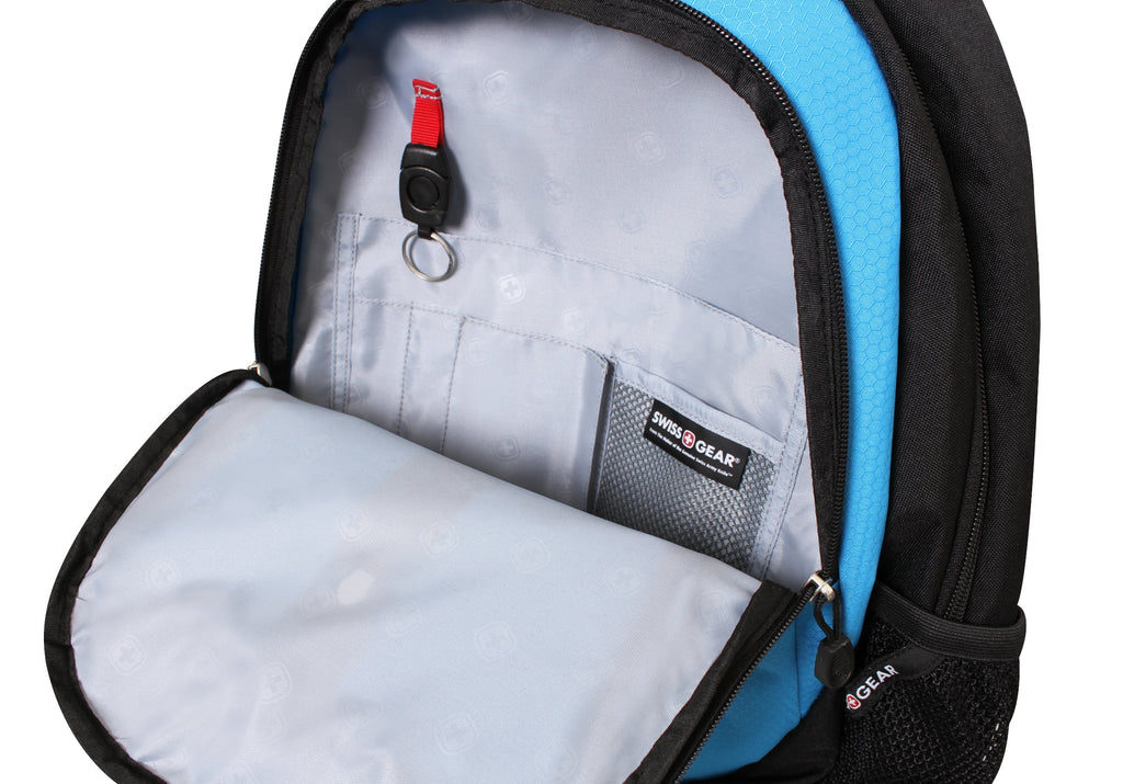 Swiss Gear SA3077 Black with Blue Lightweight Laptop Backpack - Fits Most 15 Inch Laptops and Tablets - backpacks4less.com