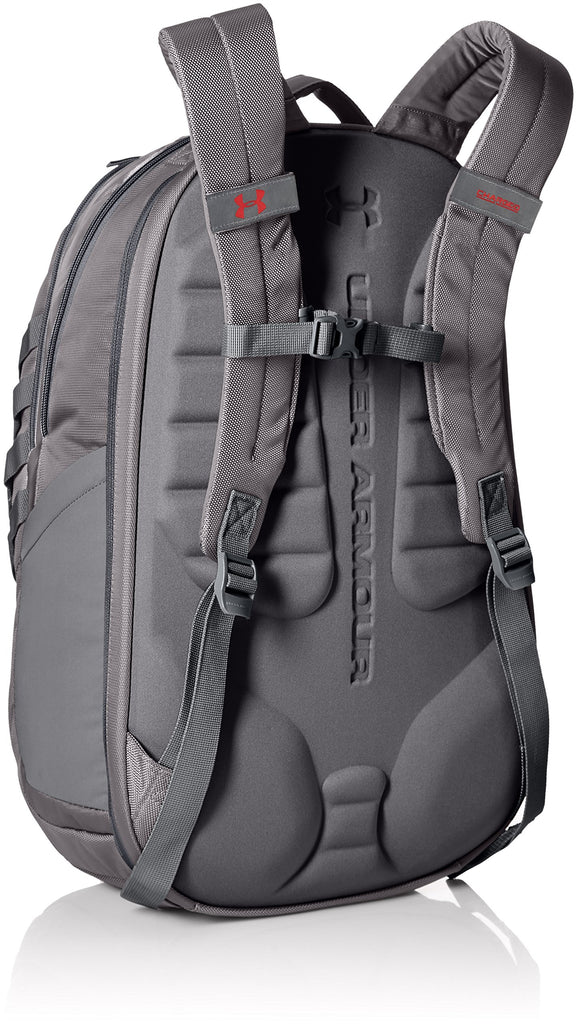 Under Armour Hudson Backpack, Rhino Gray (076)/Red, One Size Fits All Fits All - backpacks4less.com