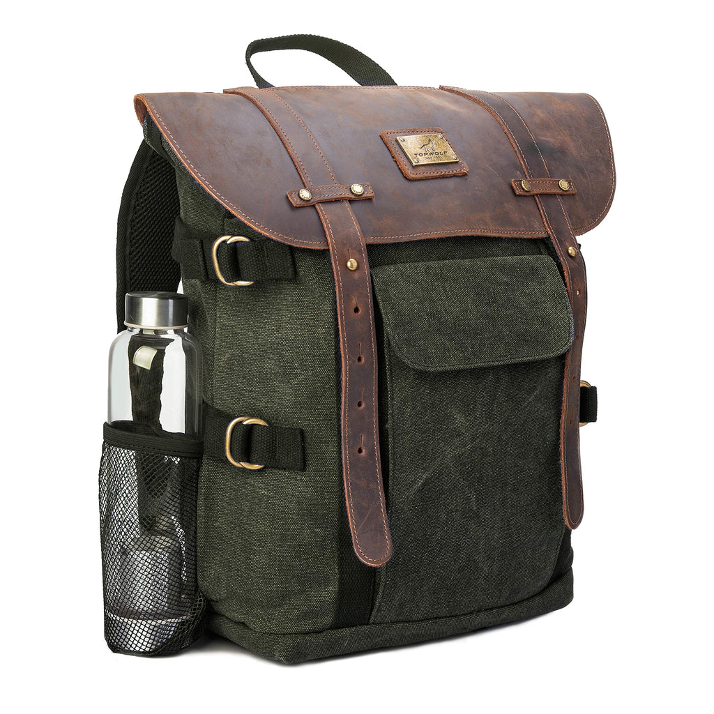 "Leather Backpack for Men TOPWOLFS Canvas Backpack Vintage Rucksack fit 15.6"" Laptop Anti-theft Pocket Multifunction Books School Travel Bag (Green&Brown Leather) - backpacks4less.com"