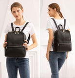 Coolcy Hot Style Women Real Genuine Leather Backpack Fashion Bag (Black) - backpacks4less.com