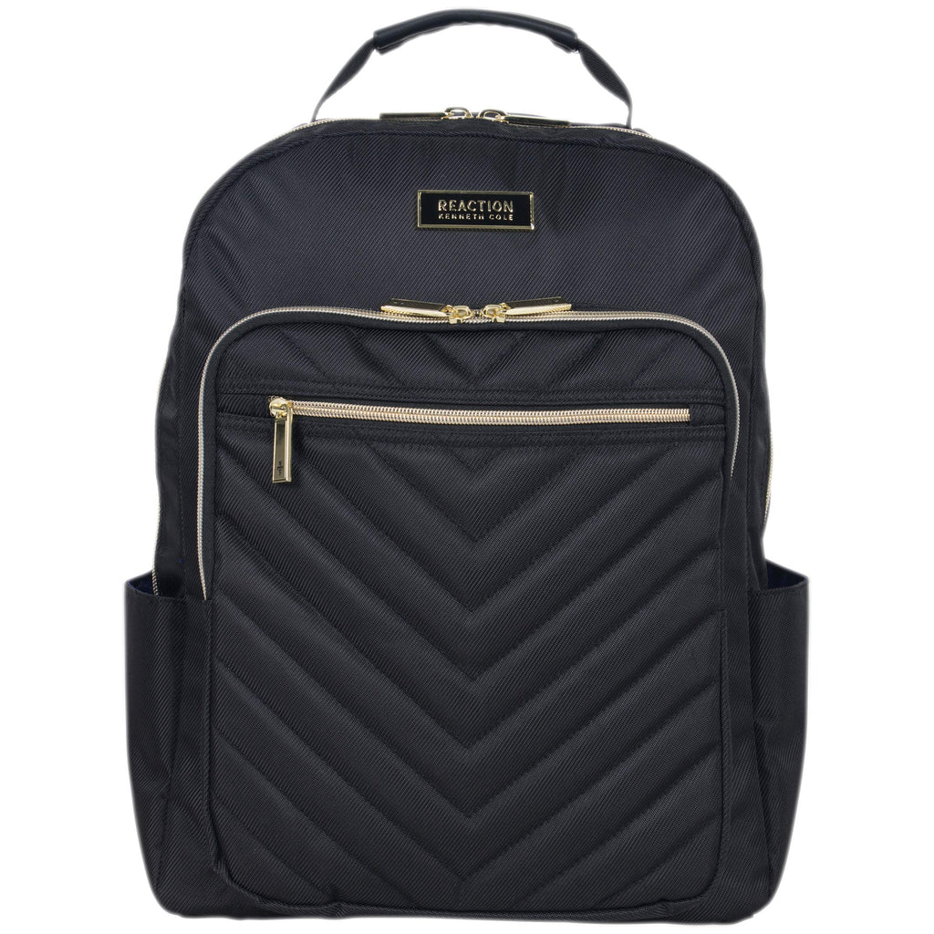 Kenneth Cole Reaction Women's Chelsea Chevron Quilted 15-Inch Laptop & Tablet Fashion Travel Backpack, Black, One Size - backpacks4less.com