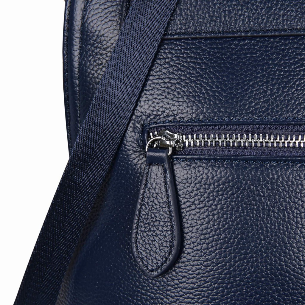 Heshe Women's Vintage Leather Backpack Casual Daypack for Ladies and Girls (Navy Blue) - backpacks4less.com