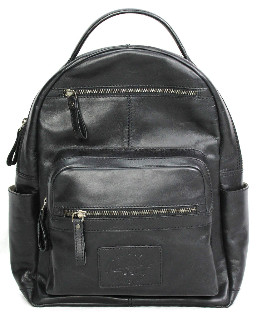 "Rawlings Heritage Collection Leather Backpack (Black, 15"") - backpacks4less.com"