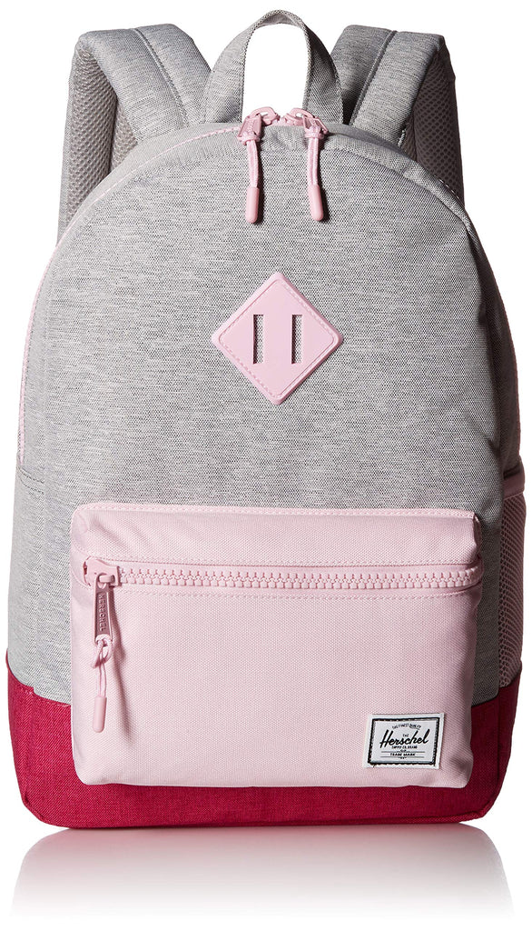 Herschel Kids' Heritage Youth Children's Backpack, Light Grey Berry Pink Lady Crosshatch, One Size - backpacks4less.com