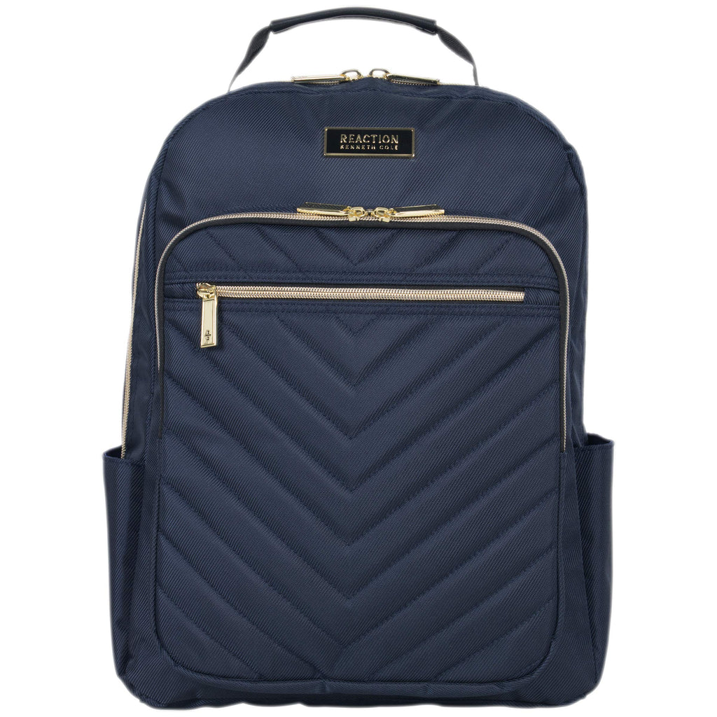 Kenneth Cole Reaction Women's Chelsea Chevron Quilted 15-Inch Laptop & Tablet Fashion Travel Backpack, Navy, One Size - backpacks4less.com