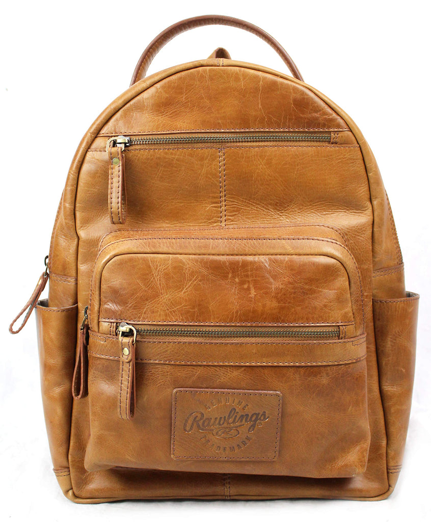 "Rawlings Heritage Collection Leather Backpack (Tan, 15"") - backpacks4less.com"