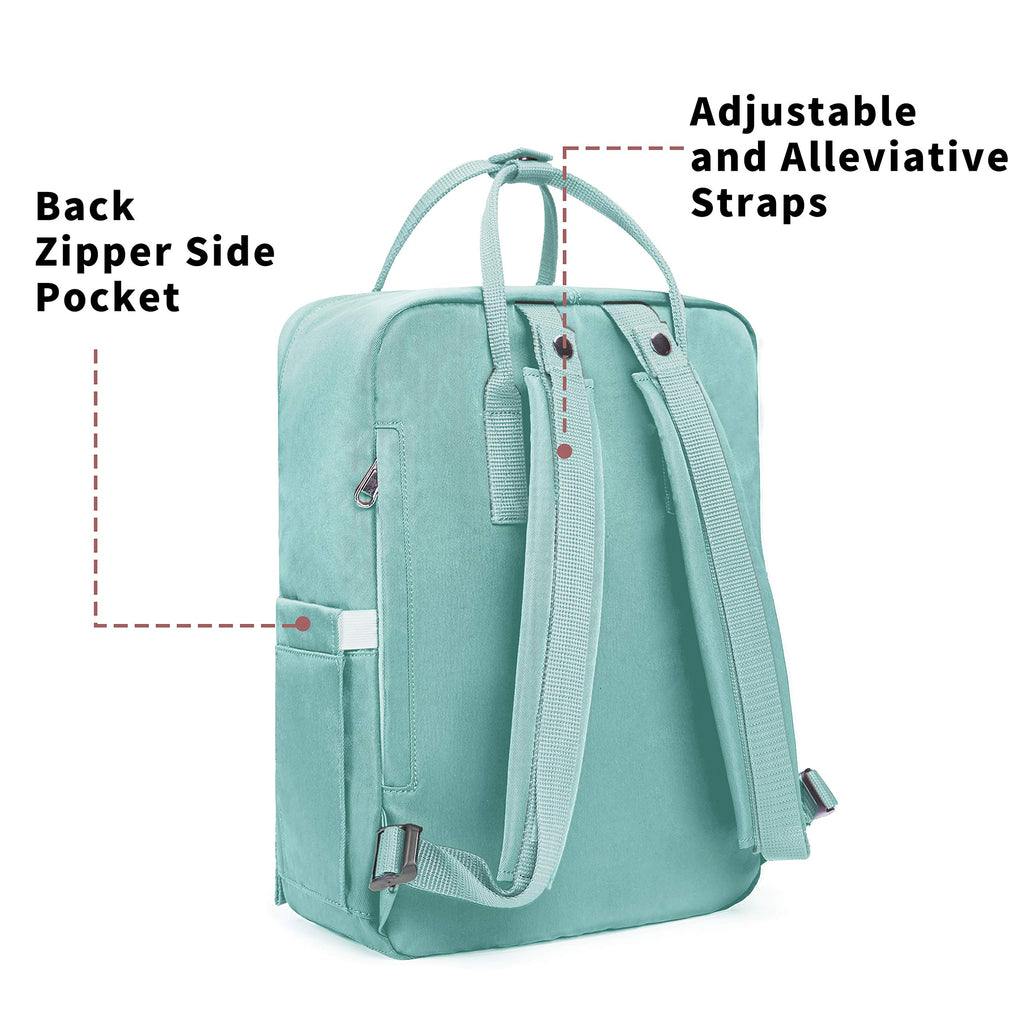 KALIDI Casual Backpack for Women,15 Inches Laptop Classic Backpack Camping Rucksack Travel Outdoor Daypack College School Bag (Mint Green) - backpacks4less.com