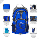 TETON Sports Oasis 1100 Hydration Pack | Free 2-Liter Hydration Bladder | Backpack design great for Hiking, Running, Cycling, and Climbing | Bright Blue - backpacks4less.com