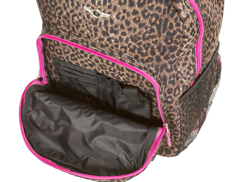 Rockland Luggage 17 Inch Rolling Backpack, Pink Leopard, One Size - backpacks4less.com