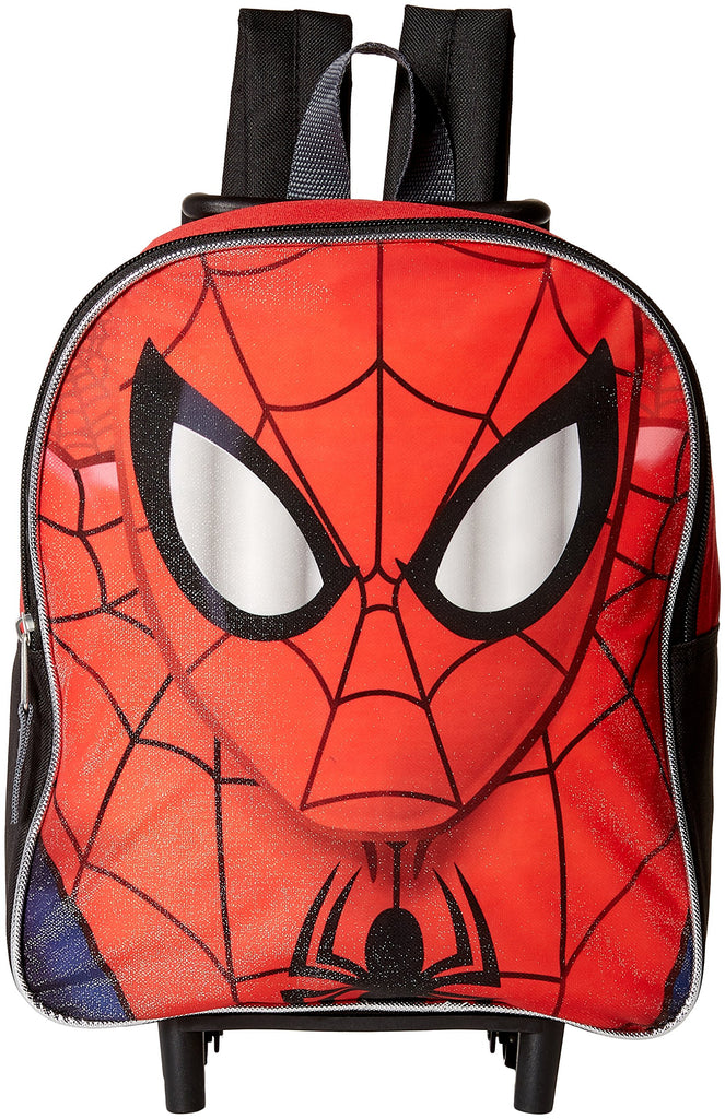 "Disney Spiderman Face 12"" Rolling Backpack Red Toddler Size - backpacks4less.com"