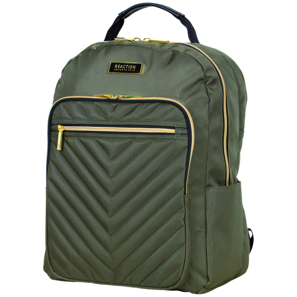 Kenneth Cole Reaction Women's Chelsea Chevron Quilted 15-Inch Laptop & Tablet Fashion Travel Backpack, Olive, Laptop - backpacks4less.com