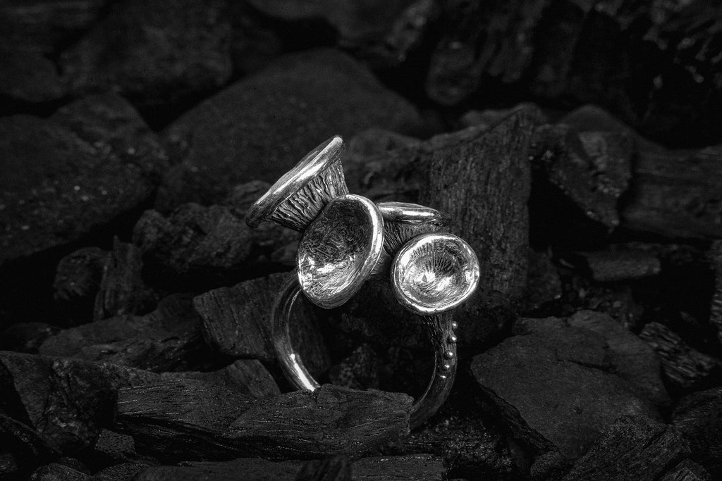 Silver ring with mushrooms