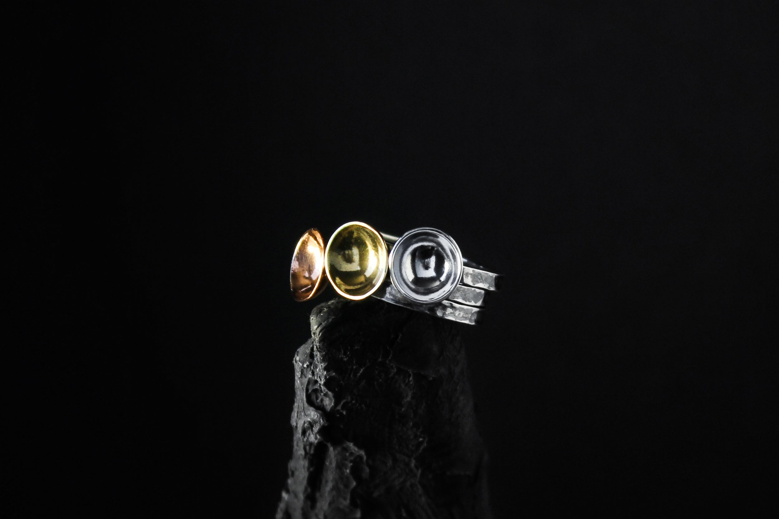 Three of Discs Stacking Rings Set - Natt Jewellery