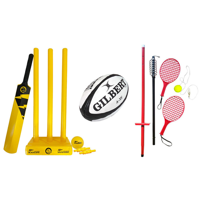 Cricket Set + Tennis Swing Set + Rugby Ball