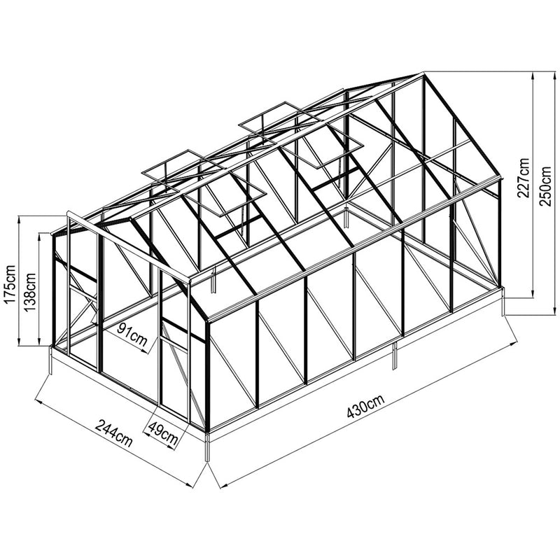 Evergreen Greenhouse 14ft x 8ft