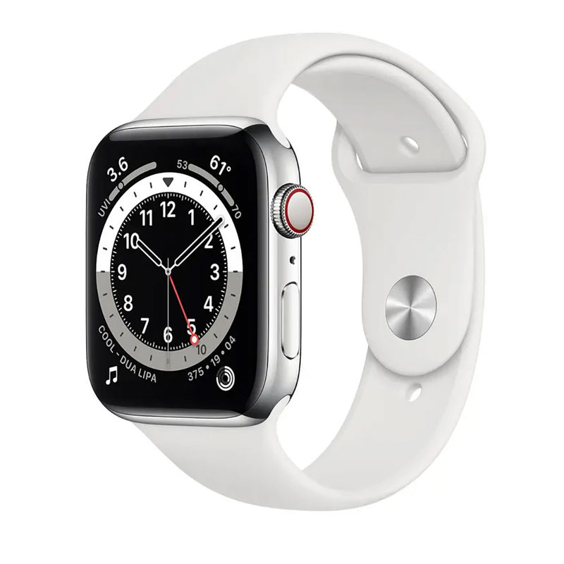 Apple Watch Series 6 GPS+Cellular, 44mm Silver Aluminium Case with White Sport Band