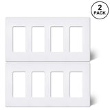 [2 Pack] 4-Gang Screwless Wall Plate, USWP6 Snow White Series, Decorator Outlet Cover
