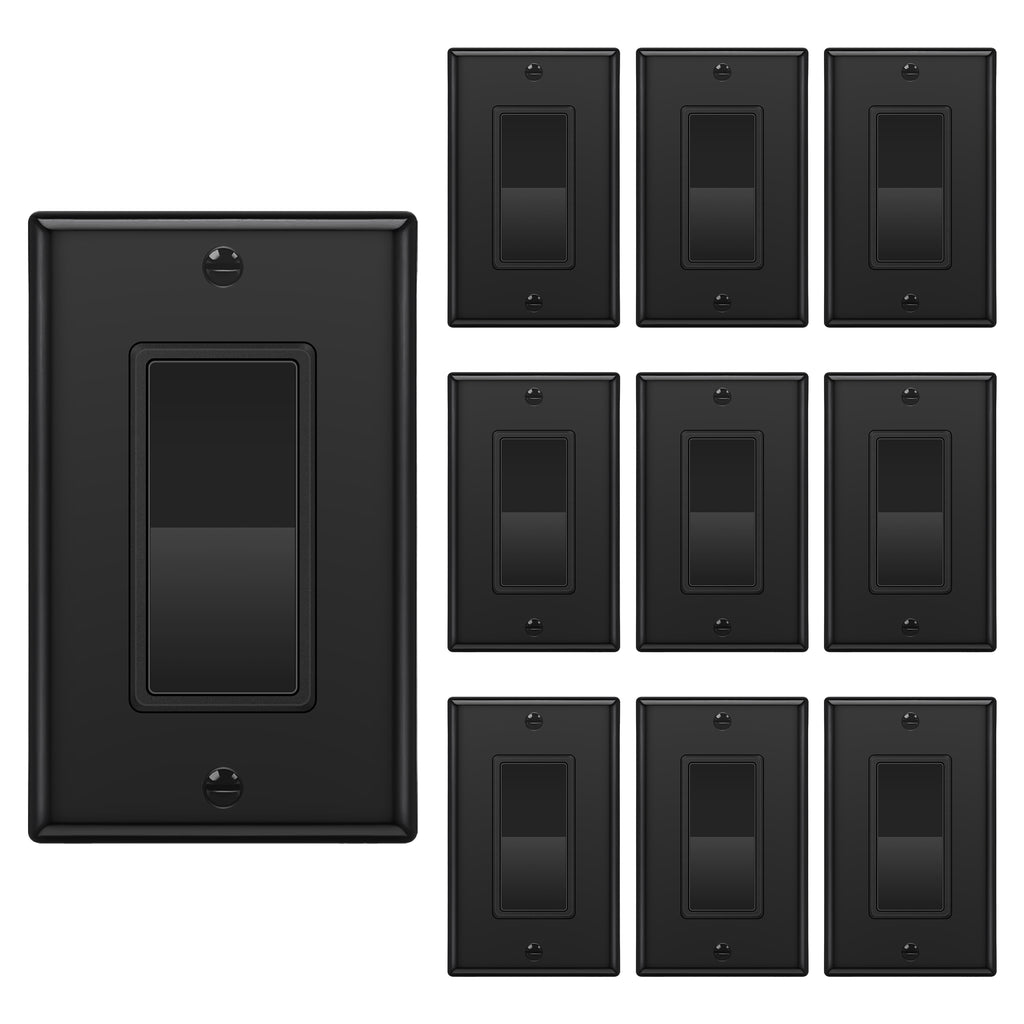 [10 Pack] BESTTEN Single Pole Decorator Wall Light Switch with Wall Plate, 15A 120/277V, On/Off Rocker Paddle Interrupter, UL Listed
