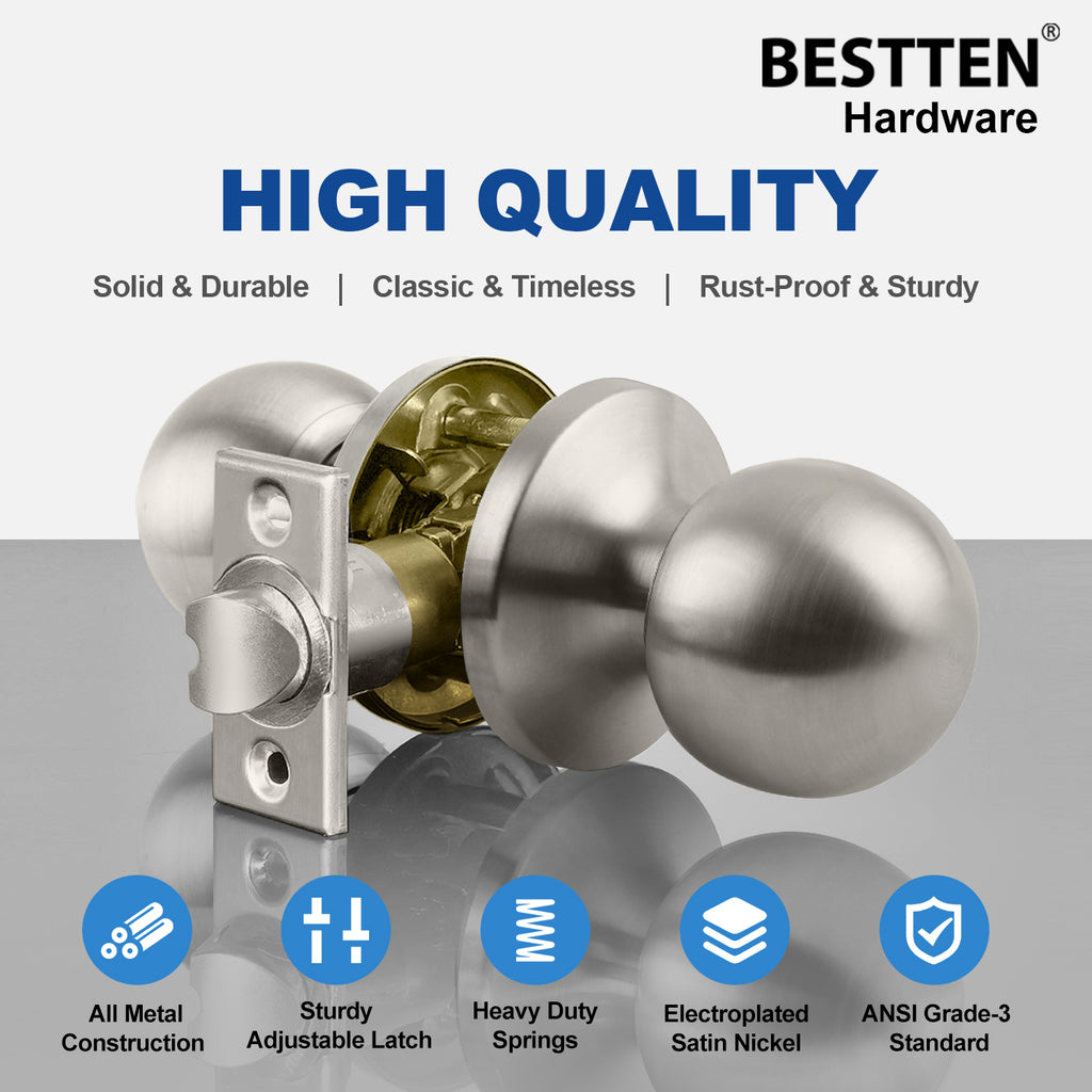 [5 Pack] Passage Door Knob Set with No Lock, Ball Door Knob, All Metal, Satin Nickel Finish, by BESTTEN