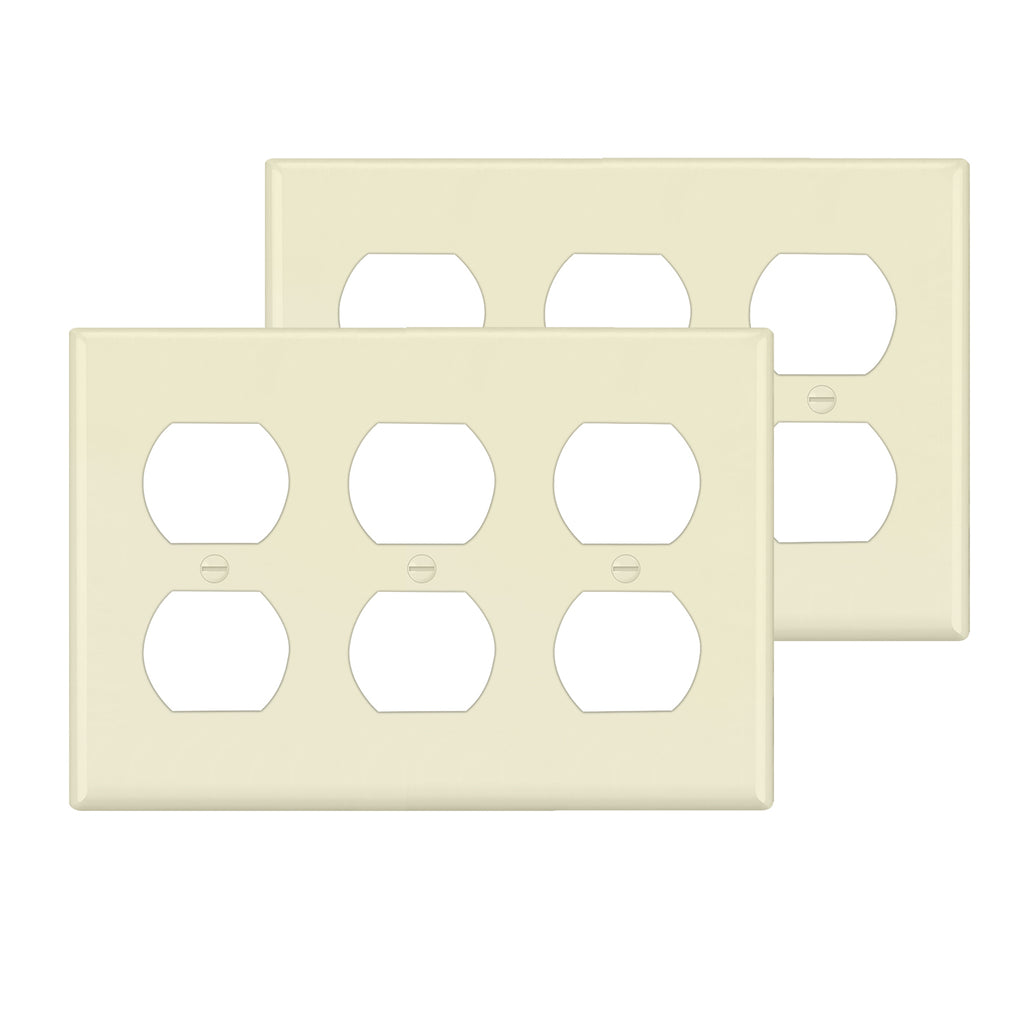 [2 Pack] BESTTEN 3-Gang Almond Duplex WallPlate, Standard Size, Unbreakable Polycarbonate Outlet and Switch Cover, cUL Listed