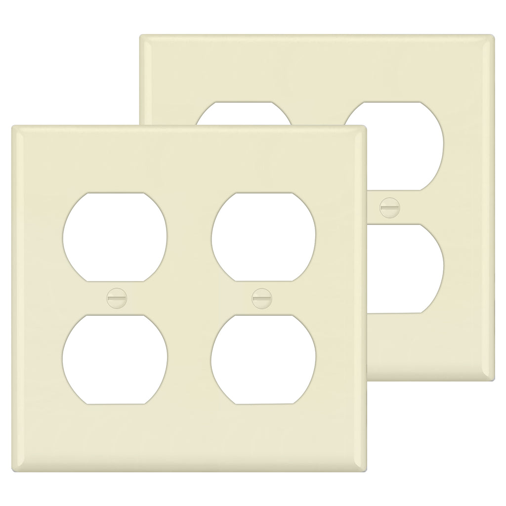 [2 Pack] BESTTEN 2-Gang Almond Duplex Wall Plate, Unbreakable Polycarbonate Outlet and Switch Cover, Standard Size, cUL Listed