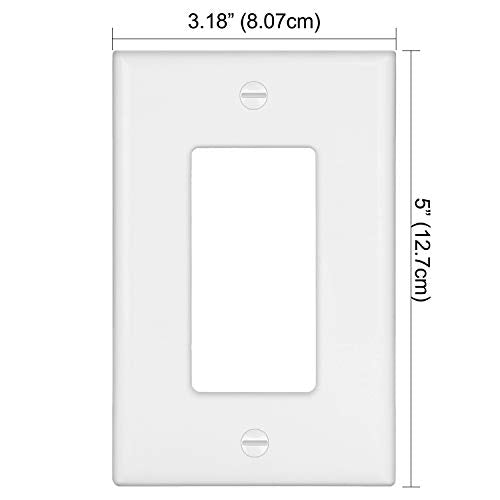 [10 Pack] BESTTEN 1-Gang Mid Size Decorator Wall Plate, Unbreakable Polycarbonate Outlet and Switch Cover, UL Listed, White