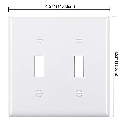 [2 Pack] BESTTEN 2-Gang Toggle Wall Plate, Standard Size, Unbreakable Polycarbonate Toggle Switch Cover, UL Listed, White